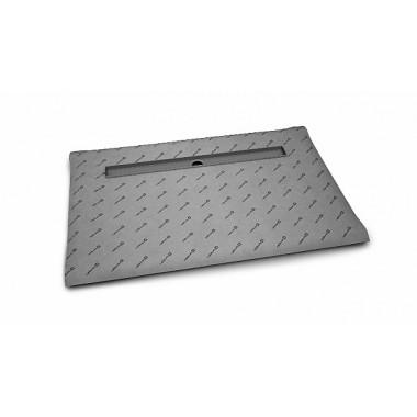 Прямоугольная душевая плита с линейным трапом с длинной стороны