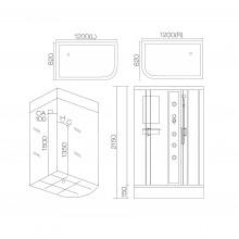 Душевая кабина гидромассажная AJ-3012R/L