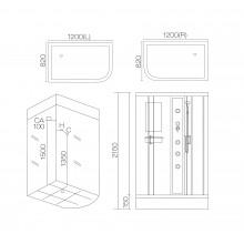 Душевая кабина гидромассажная AJ-3022R/L Размер:820х1200х2150mm