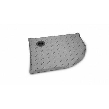Асиметрическая, полукруглая душевая плита с компактным трапом